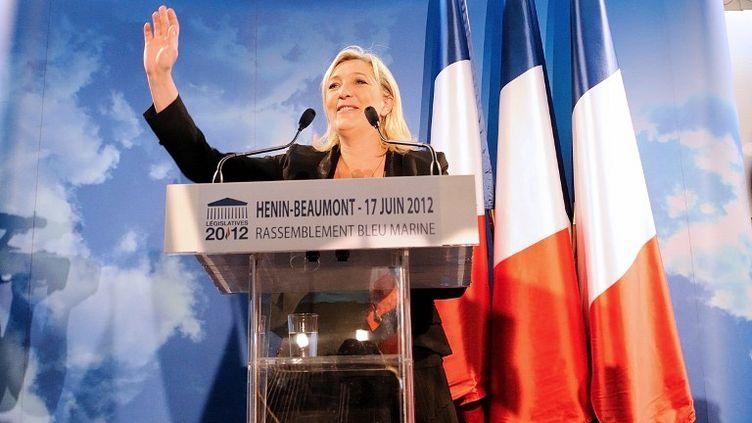 La présidente du Front national Marine Le Pen au soir du second tour des élections législatives le 17 juin 2012 à Hénin-Beaumont (Pas-de-Calais). (DENIS CHARLET / AFP)