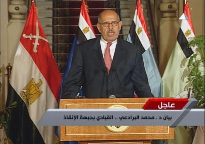 Le prix Nobel de la Paix Mohamed El-Baradei, leader de l'opposition, lors d'une allocution à la télévision égyptienne, le 3 juillet 2013. (EGYPTIAN TV / AFP)