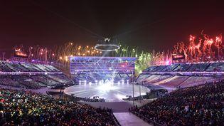 La cérémonie d'ouverture des Jeux olympiques d'hiver à Pyeongchang (Corée du Sud), le 9 février 2018. (ARIS MESSINIS / AFP)