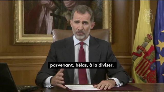 """Référendum en Catalogne : pour le roi Felipe VI, le gouvernement régional fait preuve d'une """"déloyauté inadmissible"""""""