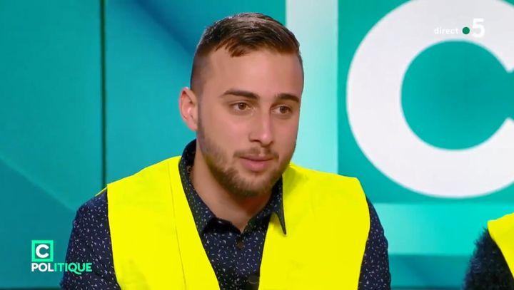 """Mathieu Blavier, ancien porte-parole des """"gilets jaunes"""", sur le plateau de l'émission """"C Politique"""", sur France 5, le 2 décembre 2018. (FRANCE 5)"""