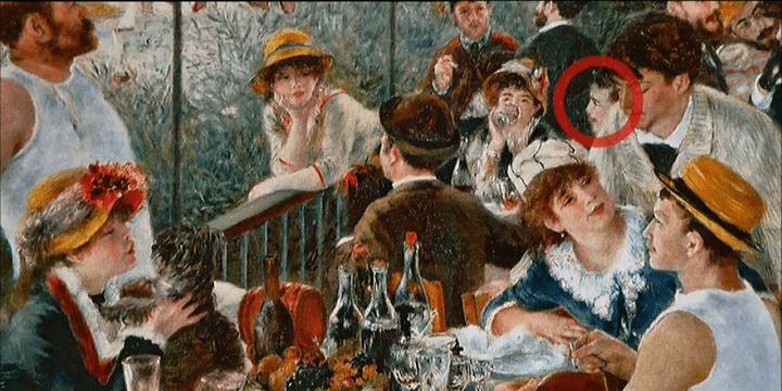 Très discret, le visage entouré d'un cercle rouge serait celui de Renoir lui-même...  (France 3 Culturebox (capture d'écran))