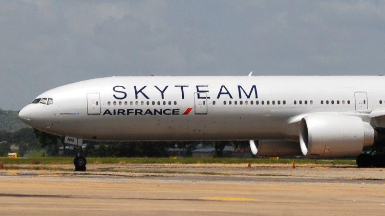 Unavion Air France, devant relier l'île Maurice à Paris, sur l'aéroport de Mombasa (Kenya), le 20 décembre 2015, après un aterrissage d'urgence lié àune fausse alerte à la bombe. (AFP)