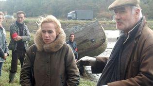 """Tournage du téléfilm """"Rouge Sang"""" avec Sandrine Bonnaire etBernard Le Coq  (PHOTOPQR/LE TELEGRAMME)"""