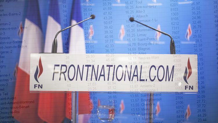 Un pupitre au siège du Front national, à Nanterre (Hauts-de-Seine), le 30 mars 2014. (MAXPPP / FRANCETV INFO)