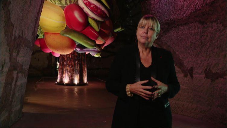 Nathalie Vranken dans les caves du domaine Pommery (X.Claeys / France Télévisions)