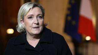 La présidente du Front national, Marine Le Pen, à l'issue d'une réunion avec le président de la République Emmanuel Macron à l'Elysée, le 21 novembre 2017 à Paris. (LUDOVIC MARIN / AFP)