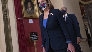 La présidente démocrate de la Chambre des représentants, Nancy Pelosi, mardi 12 janvier 2021 au Capitole, à Washington (Etats-Unis). (ANDREW CABALLERO-REYNOLDS / AFP)