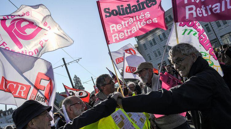 Lors d'une manifestation de retraités, à Nantes, le 9 octobre 2018. (LOIC VENANCE / AFP)