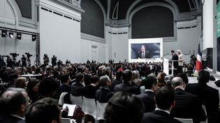 Présentation des premières propositions du grand débat national au Grand Palais à Paris, le 8 avril 2019. (PHILIPPE LOPEZ / AFP)