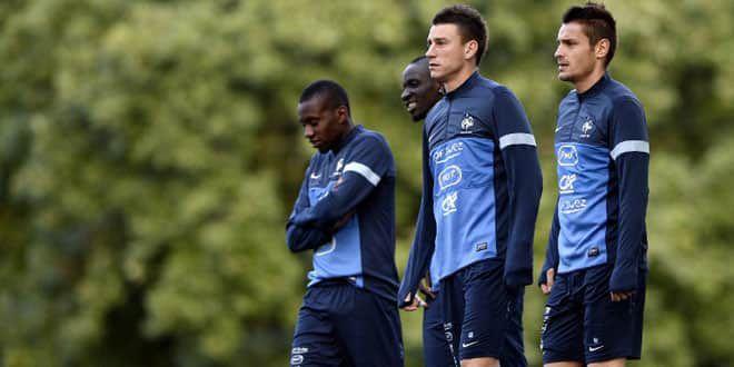 Les joueurs de l'équipe de France (de gauche à droite) Blaise Matuidi, Mamadou Sakho, Laurent Koscielny et Mathieu Debuchy