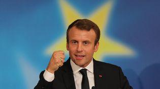 Le président de la République Emmanuel Macron lors de son discours à la Sorbonne, à Paris, le 26 septembre 2017. (LUDOVIC MARIN / AFP)