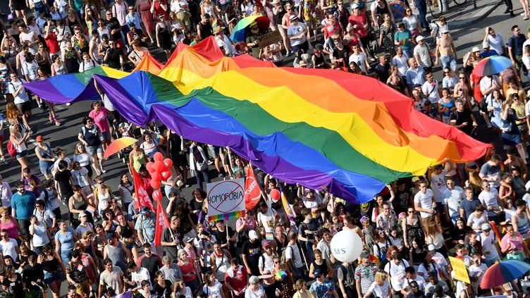Des personnes défilent avec leur drapeau arc-en-ciel, symbole de la communauté LGBT, à Budapest (Hongrie), le 6 juillet 2019. (ATTILA KISBENEDEK / AFP)
