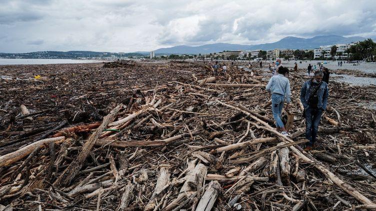 Après la tempête Alex à Saint-Laurent-du-Var le 4 octobre 2020. (VALERY HACHE / AFP)