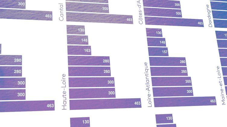 """Le nombre de jours """"sous restrictions"""" dans chaque département. (ELLEN LOZON / FRANCEINFO)"""