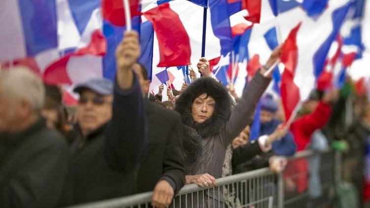 A la Concorde au meeting de Nicolas Sarkozy, le dimanche 15 avril 2012. (LIONEL BONAVENTURE / AFP)