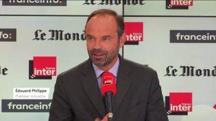 """Capture d'écran de l'émission """"Questions politiques"""" du 3 septembre 2017 avec Edouard Philippe. (FRANCEINFO)"""