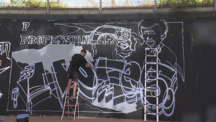 L'hommage du graffeur breton Hofs à Jean-Paul Belmondo. (France 3 Bretagne)