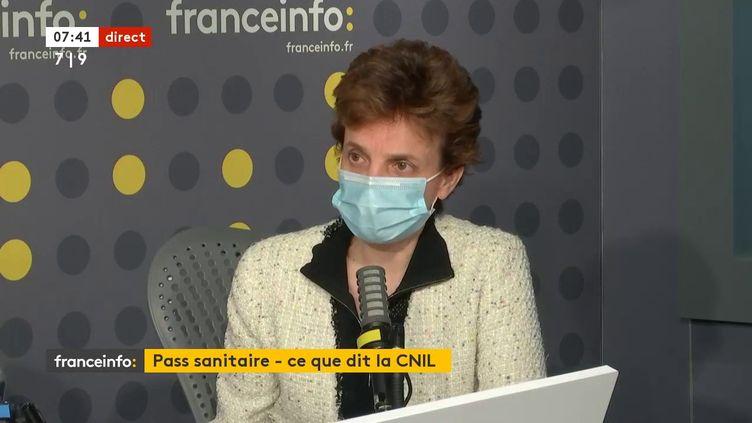 Marie-Laure Denis, la présidente de la Cnil (Commission nationale de l'informatique et des libertés de France), sur franceinfo le 8 juin 2021. (FRANCEINFO / RADIO FRANCE)