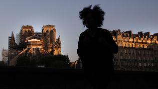 Une joggeuse contemple l'échafaudage qui recouvre désormais ce qui reste de la toiture de Notre-Dame de Paris, le 14 avril 2020. (THOMAS COEX / AFP)