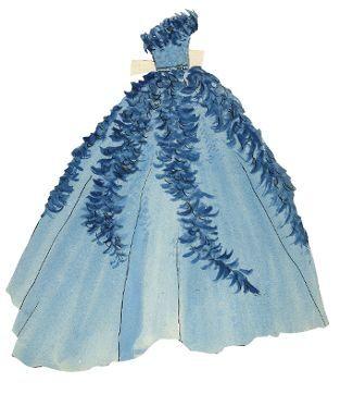 Dessin de paper doll : Yves Saint Laurent entre 1953 et 1955  (Fondation Pierre Bergé -Yves Saint Laurent )