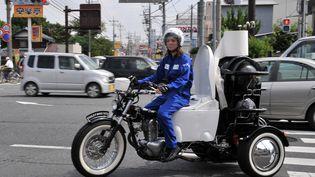 """La """"popocyclette"""" écologique du fabriquant de toilettes Toto. (YOSHIKAZU TSUNO / AFP)"""