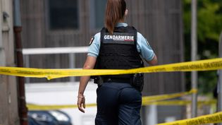 Une gendarme sur le site où un suspect a été vu après l'attaque au couteau d'une policière municipale, le 28 mai 2021, à La Chapelle-sur-Erdre, près de Nantes. (LOIC VENANCE / AFP)