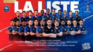 La liste des 23 joueurs de l'équipe de France pour la Coupe du monde. (FFF / TWITTER)