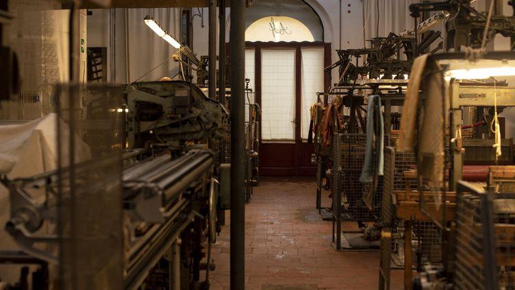 Les machines dans l'atelier de l'Antico Setificio Fiorentino, en octobre 2018, à Florence  (Tiziana FABI / AFP)
