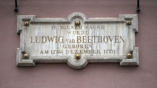 La plaque qui orne la maison natale du compositeurLudwig van Beethoven à Bonn, en Allemage, le 13 décembre 2019 (INA FASSBENDER / AFP)