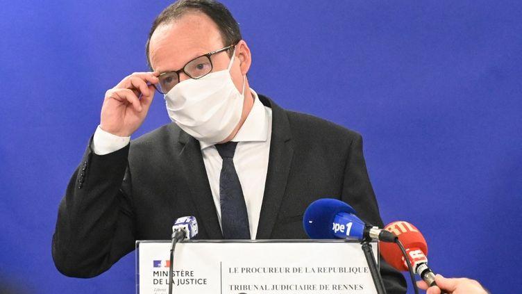 Philippe Astruc,le procureur de la République de Rennes, lors d'une conférence de presse à Rennes (Ille-et-Vilaine), le 20 mars 2021. (DAMIEN MEYER / AFP)