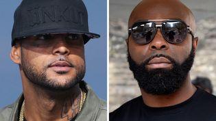 Les rappeurs Booba (à gauche) et Kaaris (à droite), respectivement en 2014 et 2015. (DOMINIQUE FAGET / AFP)