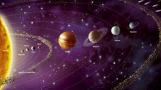 Une représentation du système solaire, inculant ses huit planètes et le Soleil. (JACOPIN / BSIP / AFP)