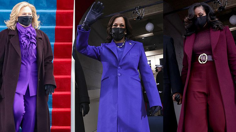 Hillary Clinton, Kamala Harris et Michelle Obama lors de l'investiture de Joe Biden au Capitole, à Washington, le 20 janvier 2021. (AFP)