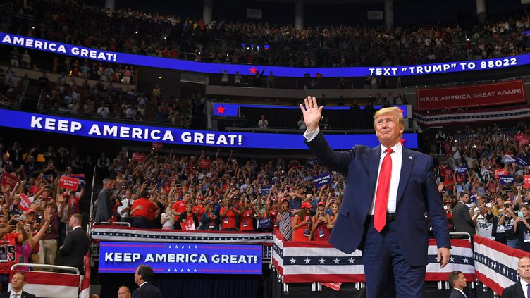 Donald Trump a officiellement lancé sa campagne mardi 18 juin à Orlando, en Floride (Etats-Unis), pourobtenir un second mandat de président des Etats-Unis en 2020. (MANDEL NGAN / AFP)