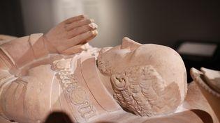 Laconférence de presse s'est tenue devant le cénotaphe (tombe sans corps) de Montaigne, dans le hall de lafaculté des Lettres et des Sciences de Bordeaux, le 16 novembre 2018. (MAXPPP)