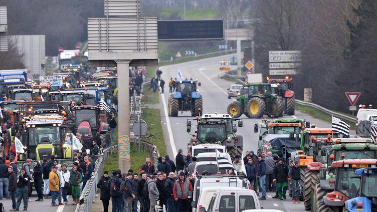 Des agriculteurs bloquent la rocade de Rennes (IIle-et-Vilaine), le 17 février 2016. (JEAN-FRANCOIS MONIER / AFP)