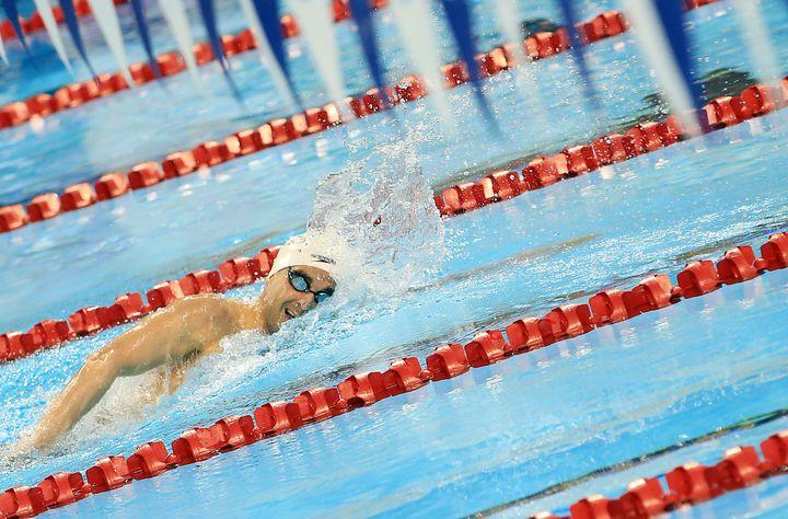 Le nageur canadien Benoît Huot lors de la finale du 400 m nage libre des sélections canadiennes, à Toronto, le 5 avril 2016. (VAUGHN RIDLEY / GETTY IMAGES NORTH AMERICA)