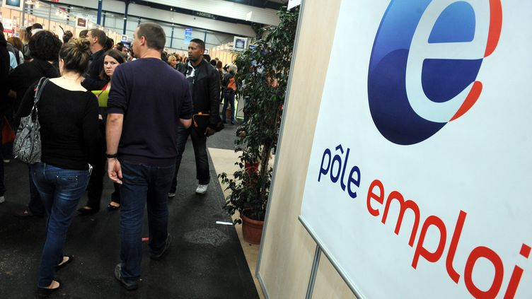 Une pancarte Pôle emploi au Salon de l'emploi de Toulouse (Haute-Garonne), le 17 octobre 2013. (MAXPPP)