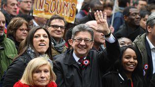 Jean-Luc Mélenchon lors de son grand rassemblemebnt entre la place de la Bastille et la place de la République à Paris, samedi 18 mars. (ERIC FEFERBERG / AFP)