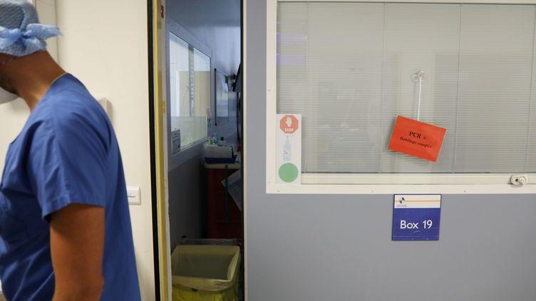 Un soignant dans le service de réanimation des patients Covid à l'hôpital de la Timone à Marseille (Bouches-du-Rhône). (VALERIE VREL / MAXPPP)