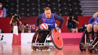 Sébastien Verdin et l'équipe de France de rugby fauteuil lors de leur match contre le Japon, le 25 août 2021 aux Jeux paralympiques. (FRANCE PARALYMPIQUE)