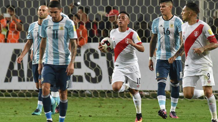 Christian Cueva, buteur contre l'Argentine (LUKA GONZALES / AFP)