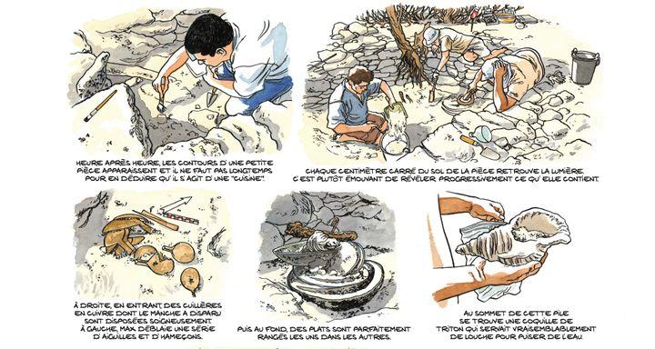 """""""La découverte de la cuisine (utilisée par les naufragés) a été un moment très fort"""", raconte le créateur de la BD. Planche extraite de la bande dessinée """"Les Esclaves oubliésde Tromelin"""" par Savoia. (© DUPUIS 2019)"""