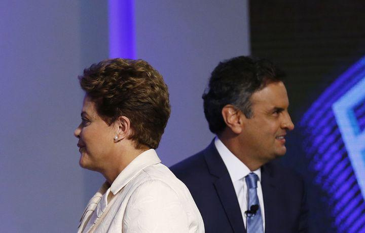Dilma Rousseff et Aecio Neves après un débat télévisé à Rio de Janeiro, le 2 octobre 2014. (REUTERS / Ricardo Moraes)