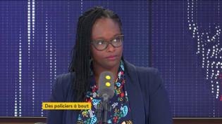 Sibeth Ndiaye, porte-parole du gouvernement, le 4 octobre 2019, sur franceinfo. (FRANCEINFO / RADIOFRANCE)