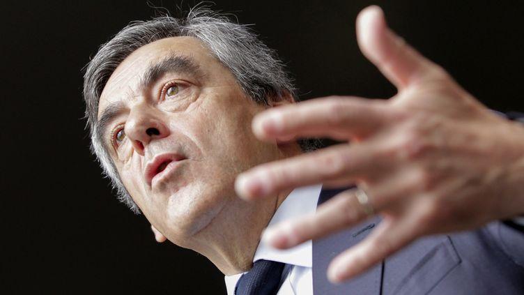 Le candidat du parti Les Républicains à l'élection présidentielle Francois Fillon, prononce un discours, dans le cadre d'un déplacement en Corse, le 1er avril 2017. (PASCAL POCHARD-CASABIANCA / AFP)