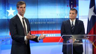 Le démocrate Beto O'Rourke lors d'un débat avec le sénateur républicain Ted Cruz, à San Antonio (Texas, Etats-Unis), le 16 octobre 2018. (POOL NEW / REUTERS)