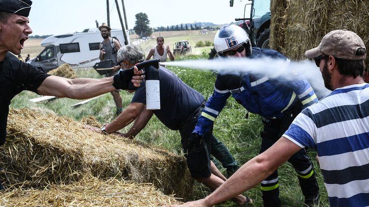 Un gendarme asperge de gaz lacrymogène un agriculteur, aux abords d'une étape du Tour de France, le 24 juillet 2018. (JEFF PACHOUD / AFP)