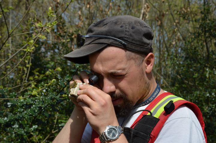 Guillaume Raoult, géologue chez Variscan, examine à la loupe un morceau de roche prélevé dans le bois de la Rouillère,le 15 avril 2015 à Montrevault (Maine-et-Loire). (THOMAS BAIETTO / FRANCETV INFO)